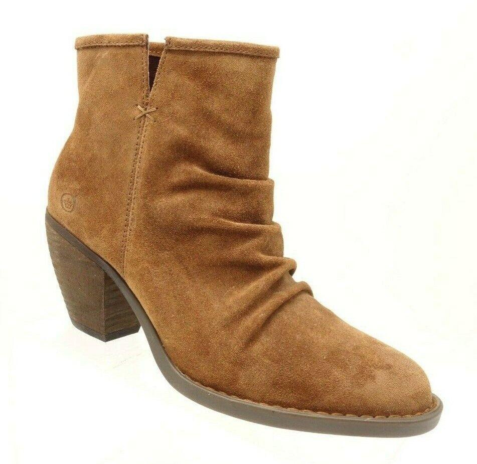 Nuevas botas al Tobillo nacido aire para mujer 7.5 M marrón Acanalada Botines De Cuero De Gamuza