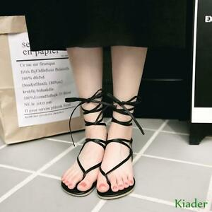 Womens-Open-toe-Strapppy-Lace-Up-Flat-Sandals-Gladiator-Roman-Shoes-Plus-Size