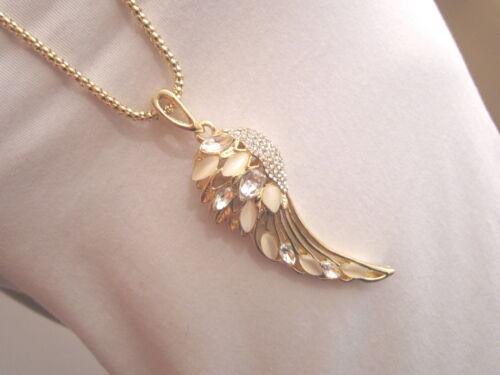 Damen Hals Kette Modeschmuck lang Modekette Strass Engel Flügel XL Gold Weiss
