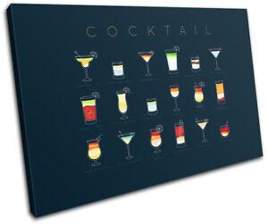 Menu-Types-Bar-Cocktail-Alcohol-Vintage-SINGLE-CANVAS-WALL-ART-Picture-Print
