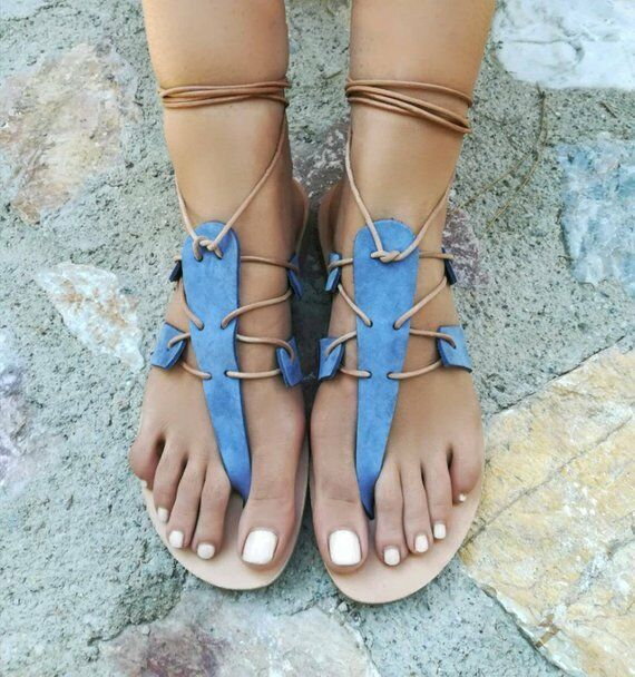 Ancient Greek style gladiator lace up leather sandals bluee leather handmade