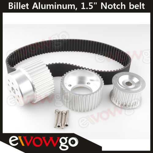 "12A 13B 20B 15mm RX7 FD FC RX3 Gilmer Drive Pulley Kit 1.5/"" Notch Belt Silver"