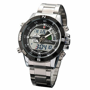 Men-039-s-Black-Dial-SHARK-Dual-Time-Date-Day-Alarm-Analog-Digital-Steel-Sport-Watch