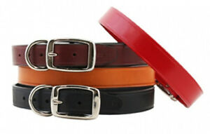 Auburn-Leathercrafters-QUALITY-Leather-Dog-TOWN-COLLARS-6-Colors-10-Sizes