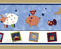 Country Stack Farm Kidsline BLUE Wall Wallpaper Border 30ft Animals 8008WB Home Furnishings