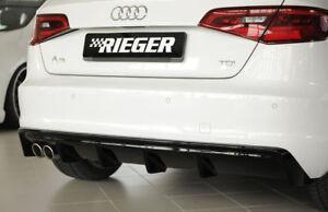 Rieger-CUP-Diffusor-SCHWARZ-fuer-Audi-A3-8V-8VA-S3-S-Line-Heck-Ansatz-Stossstange