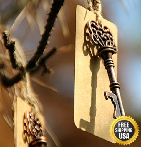 50pcs Wedding Favors Skeleton Key Bottle Opener with Escort Tag Card New