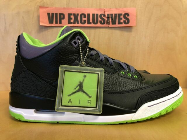20f139141af Nike Jordan Retro 3 Joker 136064-018 Black Electric Green Purple Size 10