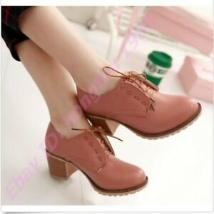 Women-039-s-Lace-Up-Oxfords-Block-Heels-Brogue-Retro-Mid-Chunky-Heels-Wing-Tip-shoes