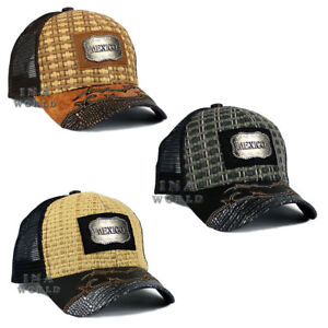 MEXICO hat Straw Woven Mesh Western Style Metal patched Snapback ... 68a011ca61a