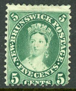 Canada-1860-New-Brunswick-5-Yellow-Green-Scott-8-Mint-D349