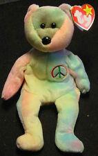 TY PEACE TIE DYE BEANIE BABY TEDDY BEAR HIPPIE DOLL new HIPPIE Peace Sign 1996