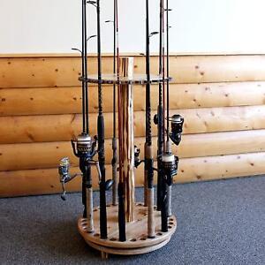 Spinning Fishing Rods Holder Rustic Wood Storage Organizer 30 Fishing Pole Rack Ebay