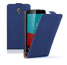Blue Slim Cover Custodia Flip in Pelle Custodia per Vodafone Smart prime (+2 7 film)