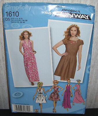 Simplicity Sewing Pattern 1610 Misses Ladies Dress Size 12-20 Uncut