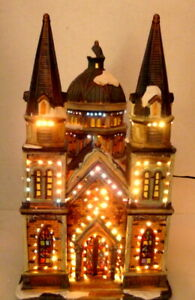 Church-Victorian-Village-Set-Grandeur-Noel-Christmas-2003-Decoration-Cathedral