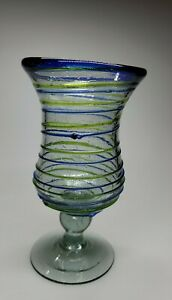 "Vintage Hand Blown Mexican Bubble Glass Goblet Green & Blue Swirls EUC 6.5"" Tall"