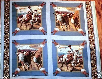 Horse Fabric panel Cowboys & Horses CATTLE DRIVE 4 pillow panel NEW FREE SHIP