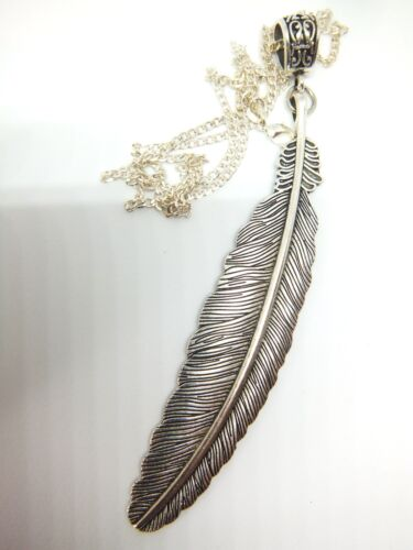 ANTIQUE SILVER LARGE FEATHER ON A 24/'/' STERLING SILVER CURB CHAIN FREE GIFT BAG