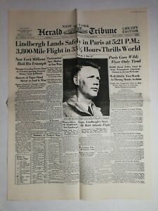 N1020-La-Une-Du-Journal-herald-tribune-22-may-1927-Lindbergh-lands-safely-Paris