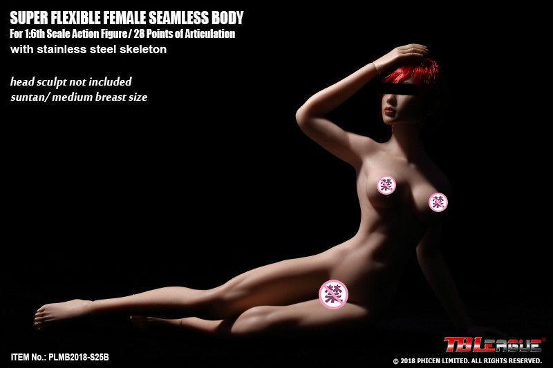 Tbleague phicen plmb2018 - s25b 1   6 flexible nahtlose bräune weiblichen figur körper