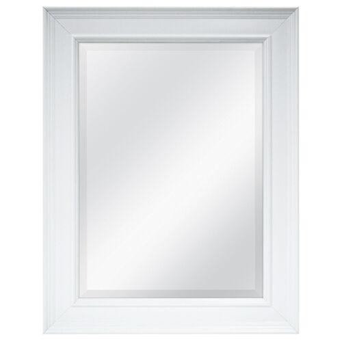 White Bath Room Vanity Mirror Beveled Rectangular Frame Wall Decor 22 5x27 5in