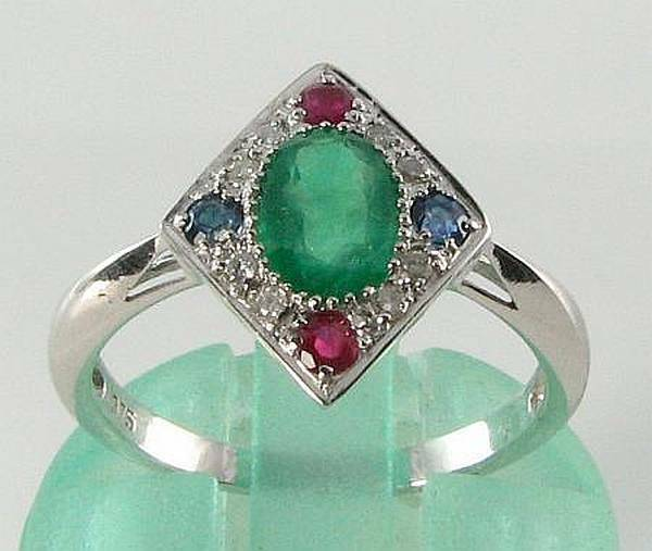 ANTIQUE ART DECO INS 9CT 9K WHITE gold EMERALD SAPPHIRE RUBY DIAMOND RING