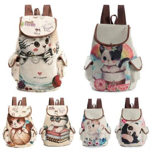 Lovely Cat Panda Sac à dos Toile école Sac Casual Shopping Sac de voyage