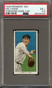 Rare 1909-11 T206 Hal Chase Throwing Dark Cap Piedmont 350 New York PSA 5.5 EX +