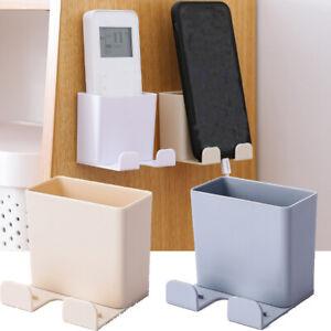 Wall-Mounted-Mobile-Phone-Holder-Plug-Remote-Control-Storage-Box-Organizer-Hook