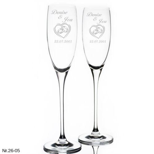 2 Sektgläser mit Hochzeit Gravur Personalisierter  Geschenk Sektglas
