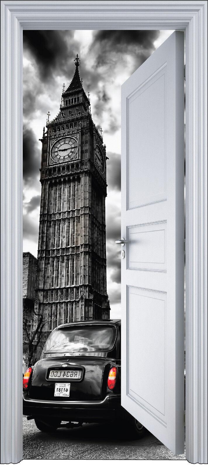 Adhesivo Puerta Trompa Trampantojo Decoración Londres Big Ben 90x200 cm Ref 2117
