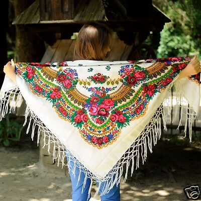 Ukrainian shawl with fringes, traditional scarf, hustka platok 125*125, 12 model