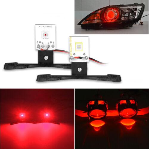 2x LED Devil Eyes Demon Evil Eye DRL Red For Projector Lens Headlight Retrofit