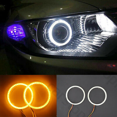 LED Angel Eyes Light White Drive Yellow Turn Signal Car Headlight Halo Ring 90mm