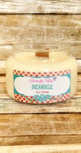Dreamsicle 8oz and 16oz Soy Candle Highly Scented Glass Jar Wood Wick