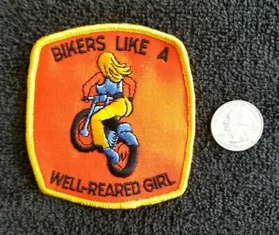 Outlaw Biker Funny Motorcycle Iron On Small Patch BAD GIRL ..