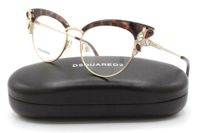 Dsquared DQ5083 Eyeglasses 56A Havana//Other//Smoke New