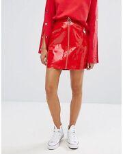 Daisy Street Zip Front Mini Skirt In Vinyl XS/ UK 6/EU 34/US 2