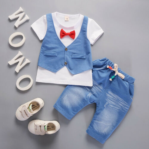 2PCS Kids Toddler Baby Boys Tie T-shirt Tops+Pants Gentleman Outfits Clothes Set