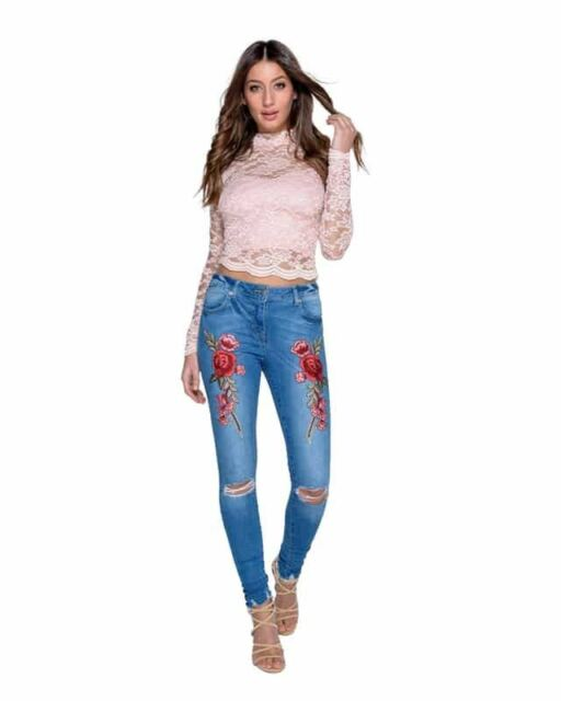 f6d80411ed8 Ladies Women Embroidered Floral Patch Detail Knee Rip SKINNY Jeans ...