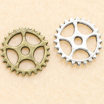 20/50/200Pcs Retro Alloy Delicate Gear Charm Pendants Jewelry 15mm Free Shipping