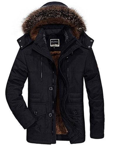 Winter Men/'s Cotton Coat Thicken Warm Outwear Parka Hooded Fur Collar Jacket