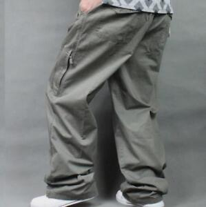 Casual-Men-Loose-Fit-Baggy-Trousers-Overalls-High-Elastic-Waist-Cotton-Plus-Size
