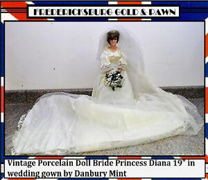 Vintage Porcelain Doll Bride Princess Diana 19 In Wedding Gown By Danbury Mint Ebay