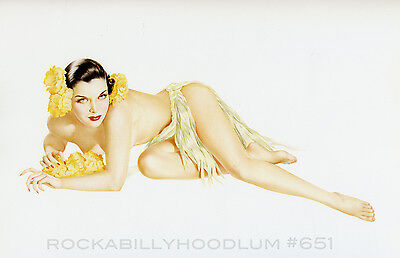 New Pin Up Girl Poster 11x17 Alberto Vargas brunette gown red flowers