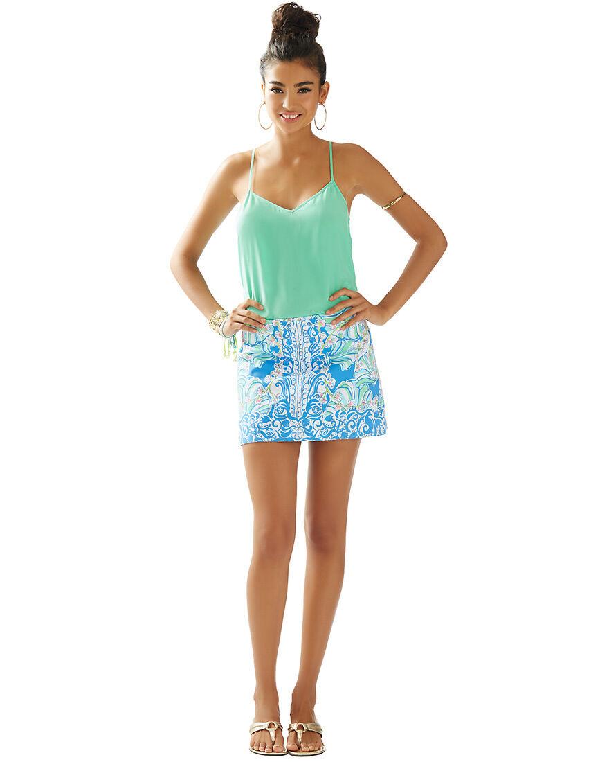 Lilly Pulitzer Skirt Größe 4 6 Tate Skirt Coasting Bay Blau Summer 2015 NWT
