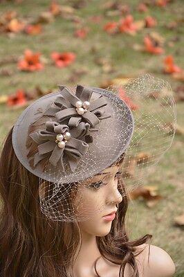 A069 Feather Saucer Womens Fascinator Wool Felt Cocktail Hat Wedding Race Ascot