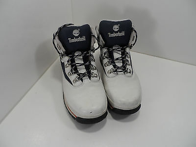Timberland Women Tennis Shoes Hightops White/Blue Leather - Size 5.5M - GC