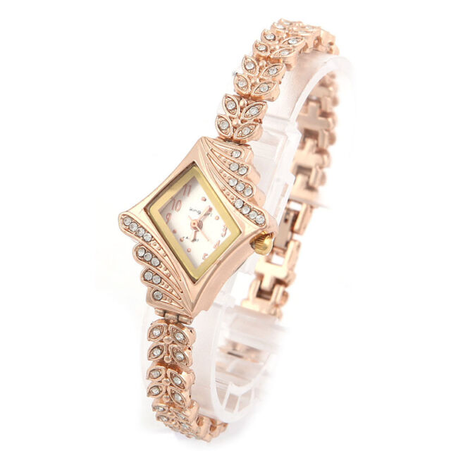 Women Luxury Crystal Diamond Gold Dial Lady Quartz Rhinestone Wrist Watch